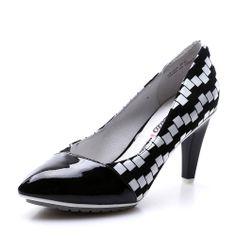 【卡美多Cameido KW16GATP41-38208 黑色】卡美多(cameido)黑色格子羊皮高跟浅口鞋KW16GATP41-38208
