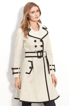 kate spade new york 'tolinder' contrast trim lady trench coat | Nordstrom - StyleSays