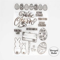 Stempelset_ClearStamps_frohe_Ostern_stempelstube_ostereier Words, Modern Candles, Easter Funny, Paper Strips, Happy Easter, Craft Tutorials, Horse