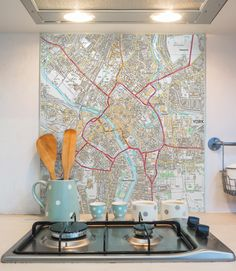 Glass Splashbacks - Custom Ordnance Survey Street Map - High Detail - Love Maps On. Kitchen Soffit, Glass Kitchen, Homey Kitchen, Wren Kitchen, Kitchen Decor, Smart Kitchen, Kitchen Counters, Kitchen Layout, Kitchen Styling
