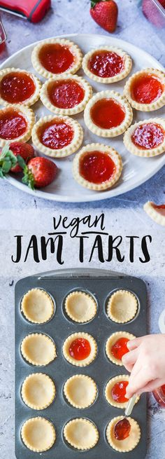 Vegan jam tarts The Effective Pictures We Offer You About dessert recipes yummy A quality picture ca Vegan Dessert Recipes, Tart Recipes, Vegan Sweets, Healthy Desserts, Drink Recipes, Vegan Baking Recipes, Bon Dessert, Dessert Simple, Appetizer Dessert