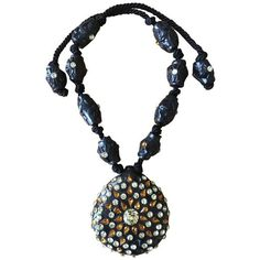 Preowned Maria Snyder Black Jeweled Necklace ($400) ❤ liked on Polyvore featuring jewelry, necklaces, black, pendant necklaces, jeweled necklace, fancy jewelry, rose jewellery, pre owned fine jewelry and beaded pendant necklace