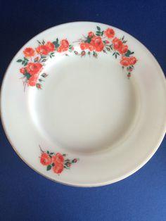 JAJ Pyrex Garden Roses dinner plates