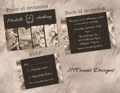 Black And White Photography Biker Motorcycle Wedding Invitation And RSVP  DIY Printable Digital File