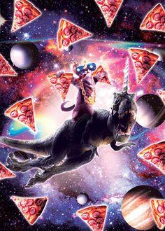 Thug Space Cat On Dinosaur Unicorn - Pizza Art Print by randomgalaxy Dinosaur Posters, Animal Posters, Cat Wearing Glasses, Pizza Poster, Pizza Art, Funny Posters, Poster Prints, Art Prints, Illusion Art