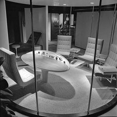 Exhibit of 1960s outer space influenced office furniture at the International Design Center. Los Angeles, 1964.