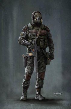 Monolith trooper by on DeviantArt Apocalypse Character, Apocalypse Art, Apocalypse Survival, Cthulhu, Character Concept, Character Art, Post Apocalyptic Art, Futuristic Armour, Future Soldier