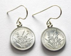 Chinese Coin Earrings, Flower Motif, Handmade, Sterling Silver Earwire at Shanghai Tai Unique Artisan Jewelry $18 #storenvy