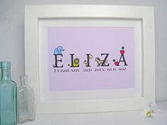 Personalized Childrens Name Print Baby Girl 1st by ThePrintedCroft, £6.00