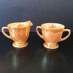 CREAM AND SUGAR FOOTED-- Fire King  Laurel  pattern Peach Lustre by ANCHOR HOCKI Cream And Sugar, Selling On Ebay, Luster, Anchor, Peach, Pottery, Fire, Glass, Ceramica