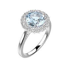Why not ? // Bague fiançailles Gaïa - Argent, Aigue-marine et Diamants (950)
