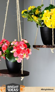 DIY: Hanging Wooden Planter Platforms by Brook from All Things Thrifty #BringInSpring