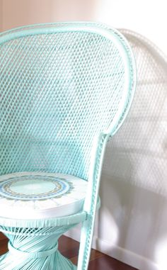 Pastel Peacock Chair Mint Green with Upcycled by NeonVintageDesign,