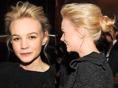 Great Gatsby star Carey Mulligan demonstrates exactly how to rock an undone bun. We love the piecey height at the crown, the wispy waves besides her ears and messy knot feel to the bun which we all know that despite looking effortless actually took a lot of work! It was worth it though... -Cosmopolitan.co.uk