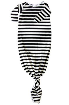 cotton knotted baby gown in black and off white stripes   candy kirby designs.