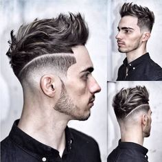 idée coupe de cheveux, coiffure pour homme avec nuque rasée et volume en dessus, mèches gris sur cheveux noirs