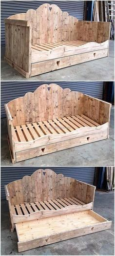 Kids really like the ownership of possessing anything from toys bicycles to their own refurbished wood pallet bed. Gift your kid with something that will save you money and at the same time make your child feel blessed. This wonderful bed is an amazing c Wood Pallet Beds, Wooden Pallet Projects, Wooden Pallet Furniture, Pallet Crafts, Wooden Pallets, Pallet Ideas, Furniture Plans, Diy Furniture, Wooden Sheds