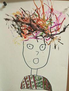 Première année : Projet d'art : portrait à l'encre soufflée.