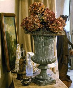 You often brought your urns indoors to create beautiful seasonal vignettes for our enjoyment.