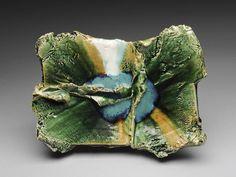 Artist: Shigemasa Higashida, Title: Rectangular Oribe Plate  - click for larger image