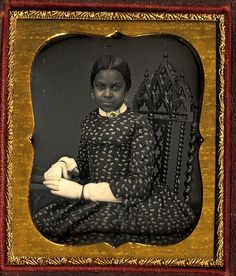 Title: Unidentified African American Woman Wearing White Gloves. 1855