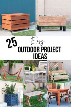 Beginner-friendly DIY outdoor project ideas to spruce up your outdoor space on a budget - including simple woodworking and furniture plans, curb appeal improvements and decor ideas! #outdoorprojects #woodworking #AnikasDIYLife Scrap Wood Projects, Woodworking Projects That Sell, Outdoor Projects, Diy Woodworking, Furniture Projects, Furniture Plans, Diy Furniture, Diy Projects, Diy Outdoor Table