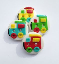 Train buttons polymer clay handmade craft buttons set of 4 via Etsy