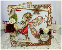 Whimsy Stamps card by Iris Wiechmann using  Sylvia Zet / Wee Stamps 'Silver Fairy', Raindrop Echo Designs 'Holiday Wishlist', Snowflakes Mini Letter Seals, Snowflake Mini Seal, Mini Lace Doily Corner die, Layered Snowflake die