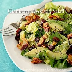 The all time favorite recipe on the blog! Cranberry-Avocado Salad with Candied Spiced Almonds and Sweet White Balsamic Vinaigrette