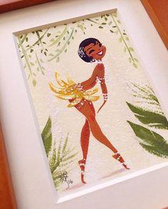 Liana Hee  First time painting on illustration board.✨ #gouache #MiniPainting #JosephineBaker