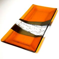Amber Art Glass Platter, Iridized Gold and Black Accents 7 x 14 Inches | @ResetarGlassArt - Glass on ArtFire