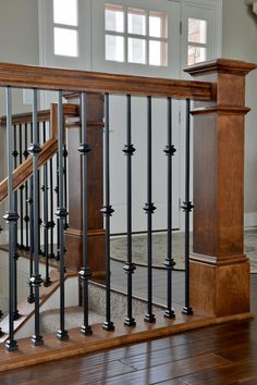 View our photo gallery of beautiful bannisters & stairways with custom millwork. We can customize your railings & bannister to fit your home & style. Craftsman Staircase, House Staircase, Staircase Remodel, Staircase Design, Stair Railing, Metal Railings, Stair Renovation, Red Oak Stain, Mediterranean Style Homes
