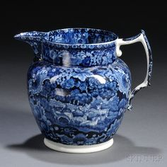 Blue and White Transferware Staffordshire Pottery Jug