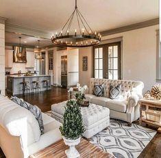 42 best farmhouse living room decor ideas and designs 10 Rugs In Living Room, Home And Living, Living Room Designs, Living Spaces, Living Area, Small Living, Modern Living, Condo Living, Kitchen Living
