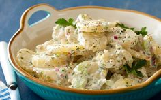 Cold-Fashioned Potato Salad : Recipes : Cooking Channel--For those who might not know, cornichons are small sweet pickles. Picnic Side Dishes, Summer Side Dishes, Food Network Recipes, Cooking Recipes, Cooking Tips, Fancy Salads, Fettucine Alfredo, Comida Latina, Soup And Salad