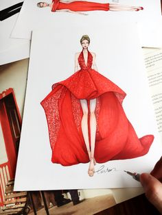 Couture in red! Inspired by haute couture fall 2016 Fashion Illustration Sketches, Illustration Mode, Fashion Sketchbook, Fashion Sketches, Clothing Sketches, Dress Sketches, Runway Fashion, Fashion Art, Fashion Design Drawings