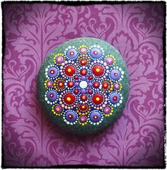 Jewel+Drop+Mandala+Painted+Stone+Passionflower+by+ElspethMcLean,+$42.00