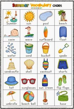 Summer Themed Vocabulary Cards with Record Sheets:
