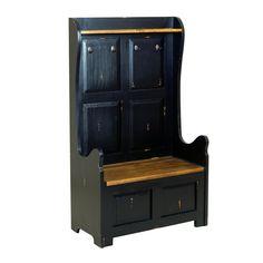 OH Maison 2 Seater Monks Bench High Back - Antique Black