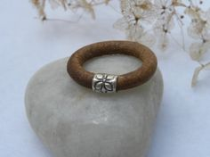Sterling Silver Leather Ring Urban Modern by TANGRA2009 on Etsy, $18.00