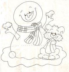 Gabarit - Le bonhomme de neige avec son chien