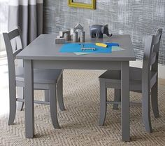 "My First Play Table & Chairs, Gray #pbkids Table: 24"" square x 17.5"" high, Chair: 11"" wide x 12.5"" deep x 21"" high"