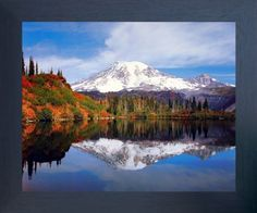 Mount Rainier Lake Reflection with Snow Mountain Scenery Landscape Wall Decor Espresso Framed Picture Art Print (20x24) Impact Posters Gallery