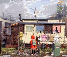 Ilustración de Roberto Innocenti para la obra La niña de rojo, de Roberto Innocenti y Aaron Frisch.