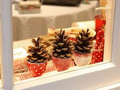 Place pinecones in favorite teacups for a Christmas display on the buffet, kitchen, hutch or open front kitchen cabinets. Merry Christmas, Christmas Love, Winter Christmas, Navidad Diy, 242, Christmas Decorations, Christmas Ornaments, Christmas Trees, Boxing Day