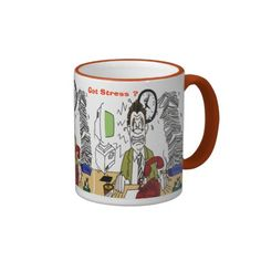 Got Stress ? Mugs -$18.95- Add some flair to your mug design with the Ringer Mug. Handle and lip of the mug are colored to match. 11 oz. or 15 oz. Available in 10 colors. Dishwasher and microwave safe. Imported.