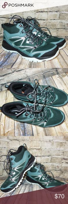 Merrell Capra Sport Gore-Tex Mid Green Hiking Boot Merrell Capra Sport Gore-Tex Mid Green Women's Size 9 Hiking Shoes Boot  Preowned in excellent condition Mid hiking boot Lace up  gore tex DRY boot Pine Grove Green Women 9 I have other items like this listed Thank you for looking! Merrell Shoes Ankle Boots & Booties