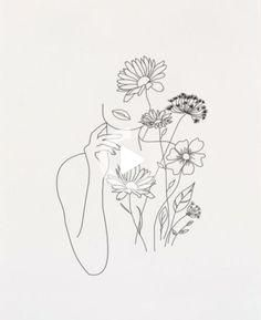 Buy reproductions of minimalist art lines with flowers III from . - Buy reproductions of minimalist art lines with flowers III from Expedition, - Minimalist Drawing, Minimalist Art, Minimalist Tattoos, Art Minimaliste, Line Art Tattoos, Flower Tattoos, Outline Art, Flower Outline, Abstract Line Art