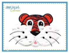 SEC FOOTBALL FANS...lots of applique machine embroidery applique designs at appiquecorner.com..Love this Tiger Face Boy Applique Design for an Auburn fan.