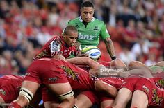 Will Genia of the Reds feeds the scrum during the round 16 Super Rugby match between the Reds and...